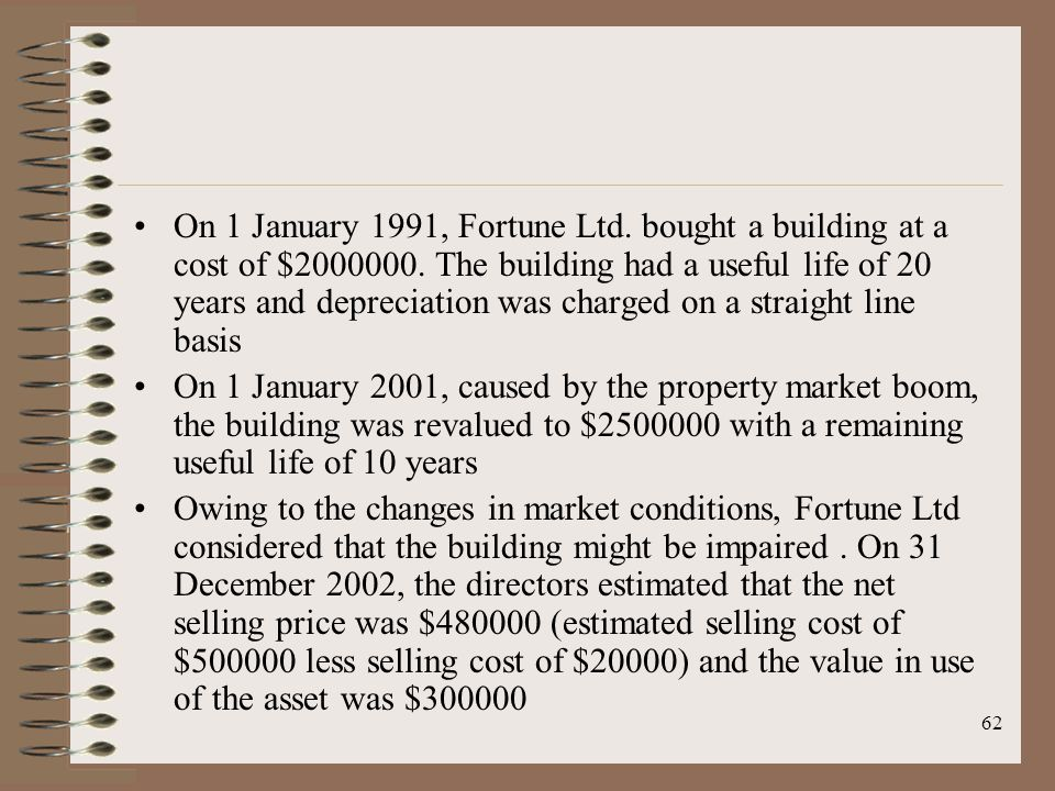 62 On 1 January 1991, Fortune Ltd. bought a building at a cost of $2000000. The building had a useful life of 20 years and depreciation was charged on