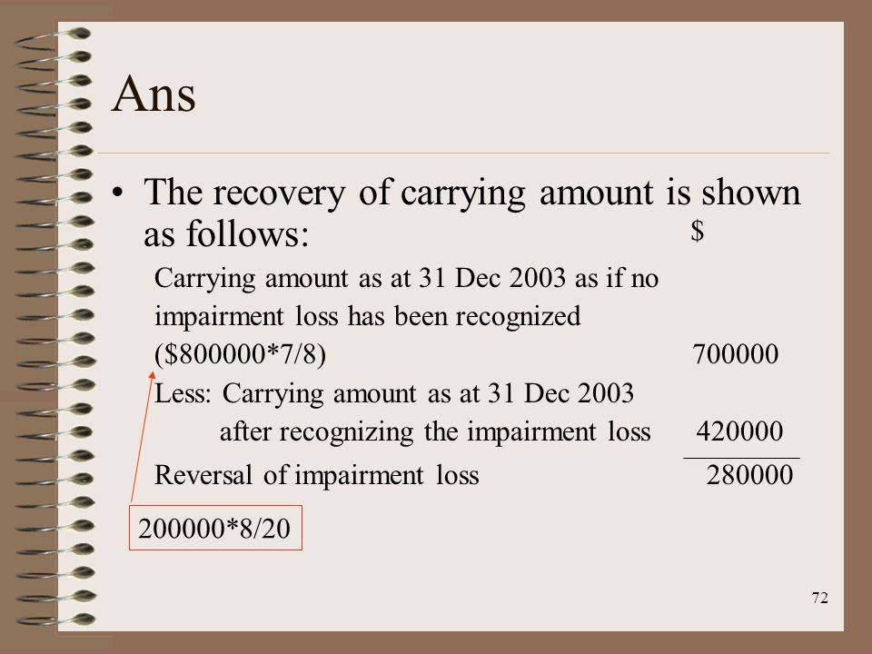 72 Ans The recovery of carrying amount is shown as follows: Carrying amount as at 31 Dec 2003 as if no impairment loss has been recognized ($800000*7/8) 700000 Less: Carrying amount as at 31 Dec 2003 after recognizing the impairment loss 420000 Reversal of impairment loss 280000 $ 200000*8/20