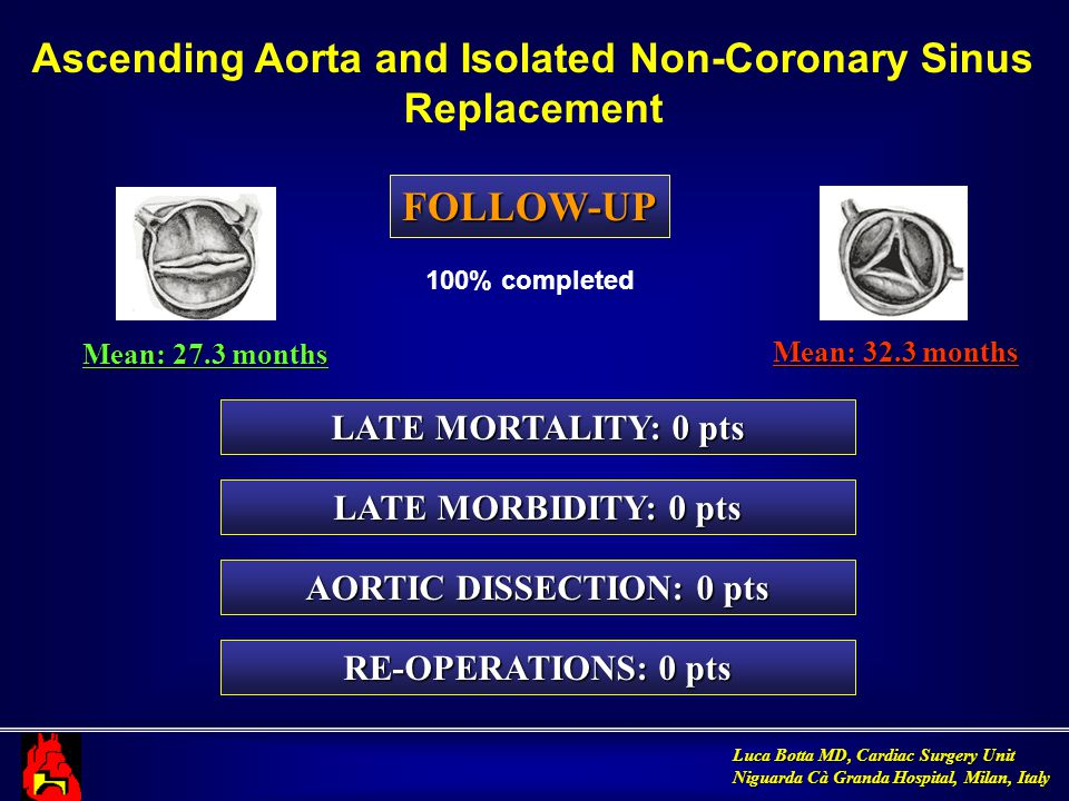 Luca Botta MD, Cardiac Surgery Unit Niguarda Cà Granda Hospital, Milan, Italy FOLLOW-UP LATE MORTALITY: 0 pts Mean: 27.3 months Ascending Aorta and Isolated Non-Coronary Sinus Replacement LATE MORBIDITY: 0 pts AORTIC DISSECTION: 0 pts RE-OPERATIONS: 0 pts Mean: 32.3 months 100% completed