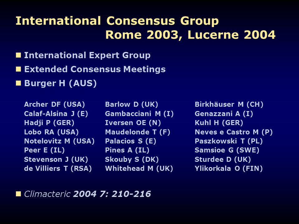 International Consensus Group Rome 2003, Lucerne 2004 International Expert Group Extended Consensus Meetings Burger H (AUS) Archer DF (USA) Barlow D (