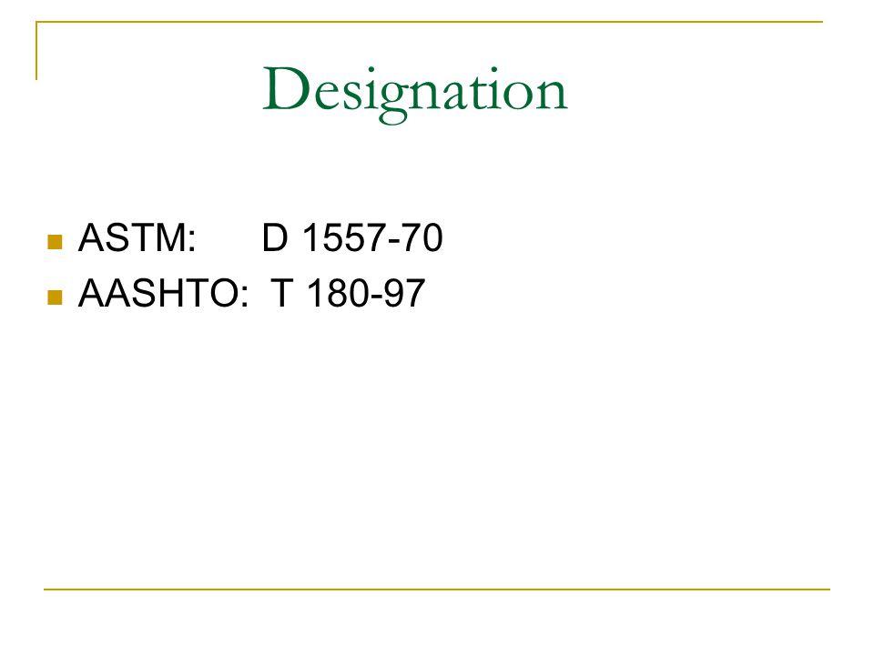 Designation ASTM: D 1557-70 AASHTO: T 180-97
