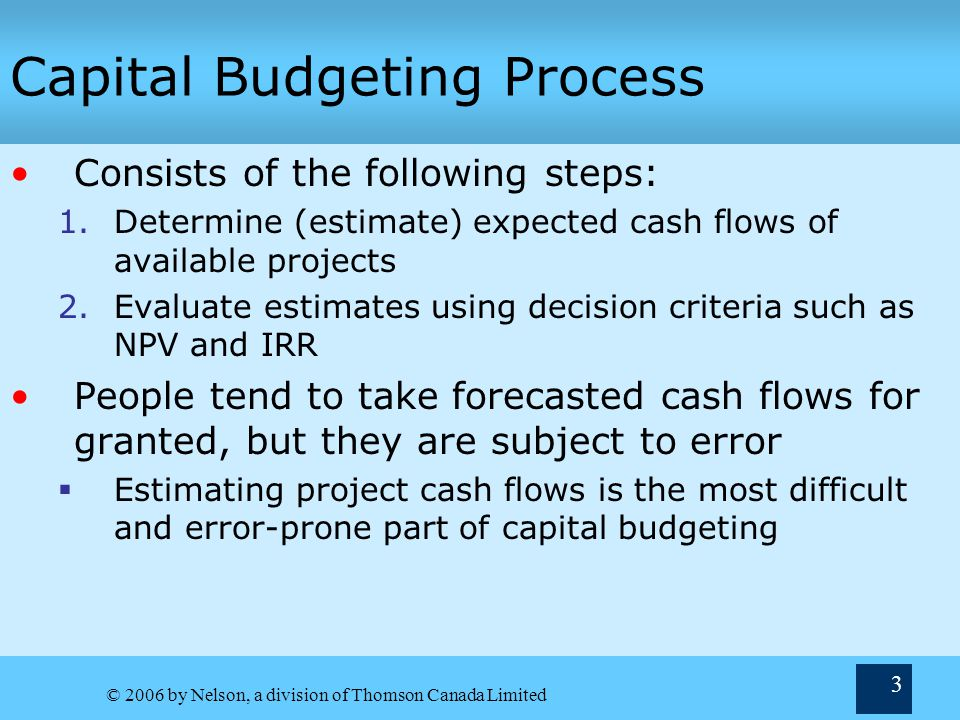 © 2006 by Nelson, a division of Thomson Canada Limited 3 Capital Budgeting Process Consists of the following steps: 1.Determine (estimate) expected cash flows of available projects 2.Evaluate estimates using decision criteria such as NPV and IRR People tend to take forecasted cash flows for granted, but they are subject to error Estimating project cash flows is the most difficult and error-prone part of capital budgeting
