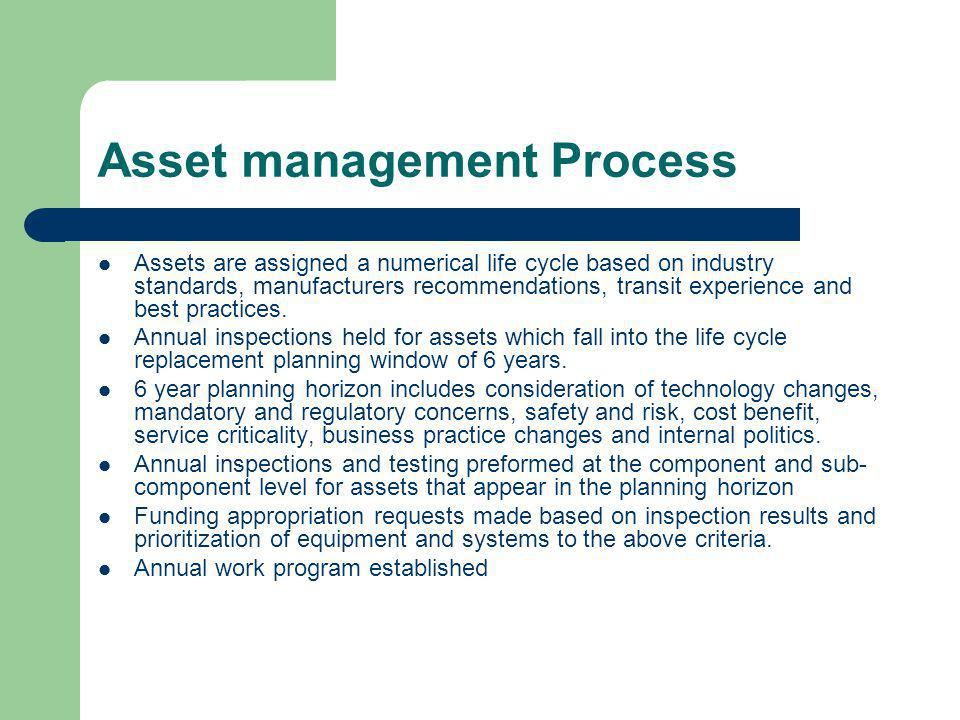Asset management Process Assets are assigned a numerical life cycle based on industry standards, manufacturers recommendations, transit experience and best practices.