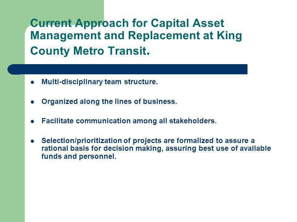 Current Approach for Capital Asset Management and Replacement at King County Metro Transit.