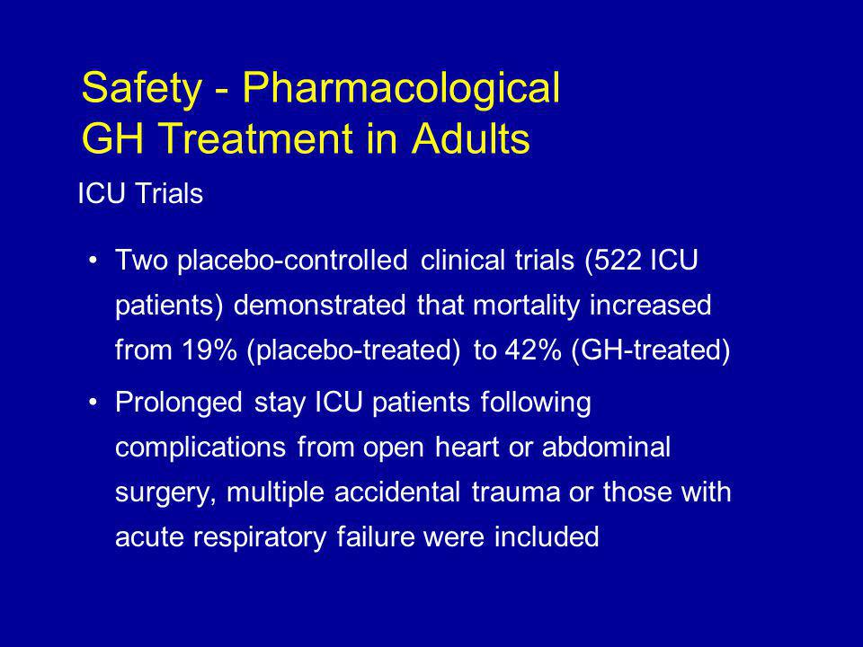 ICU Trials Two placebo-controlled clinical trials (522 ICU patients) demonstrated that mortality increased from 19% (placebo-treated) to 42% (GH-treated) Prolonged stay ICU patients following complications from open heart or abdominal surgery, multiple accidental trauma or those with acute respiratory failure were included Safety - Pharmacological GH Treatment in Adults