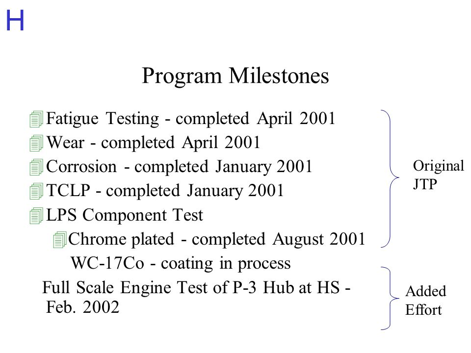 H Program Milestones 4Fatigue Testing - completed April 2001 4Wear - completed April 2001 4Corrosion - completed January 2001 4TCLP - completed January 2001 4LPS Component Test 4Chrome plated - completed August 2001 WC-17Co - coating in process Full Scale Engine Test of P-3 Hub at HS - Feb.