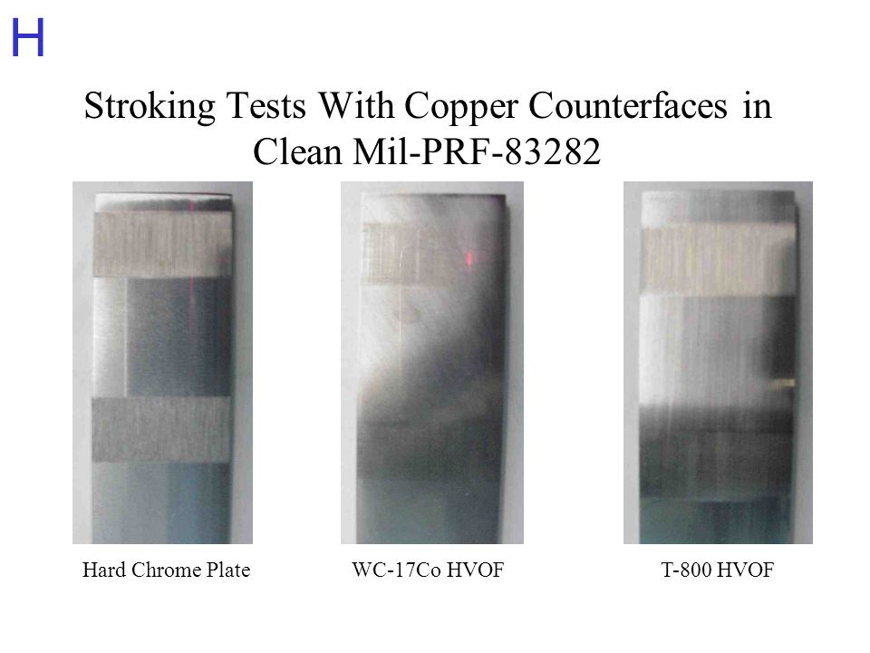 H Stroking Tests With Copper Counterfaces in Clean Mil-PRF-83282 Hard Chrome PlateWC-17Co HVOFT-800 HVOF