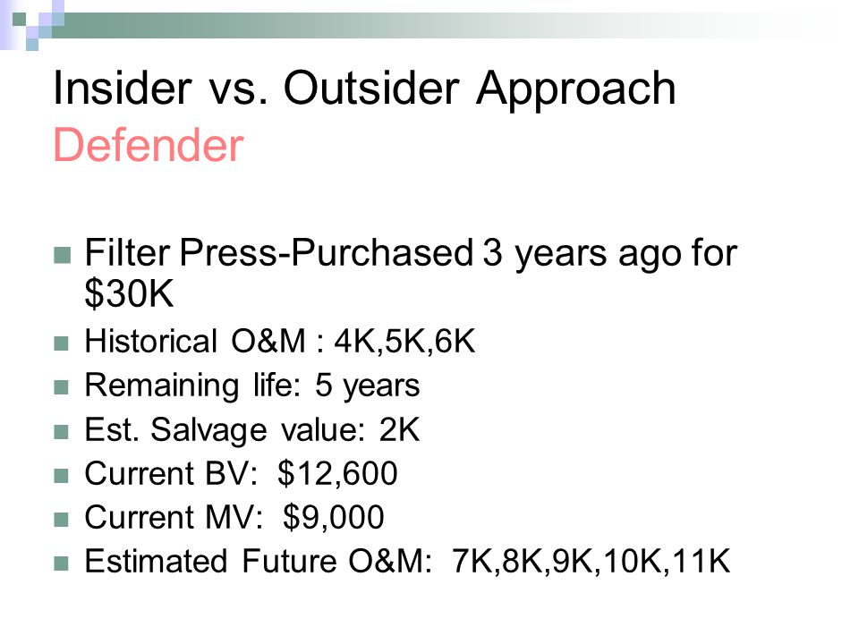 Insider vs. Outsider Approach Defender Filter Press-Purchased 3 years ago for $30K Historical O&M : 4K,5K,6K Remaining life: 5 years Est. Salvage valu