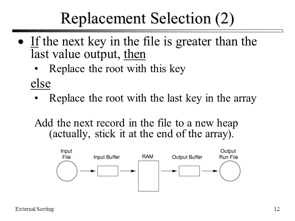 External Sorting12 Replacement Selection (2) If the next key in the file is greater than the last value output, then Replace the root with this key el