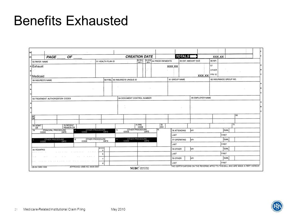Medicare-Related Institutional Claim FilingMay 2010 22 Benefits Exhausted