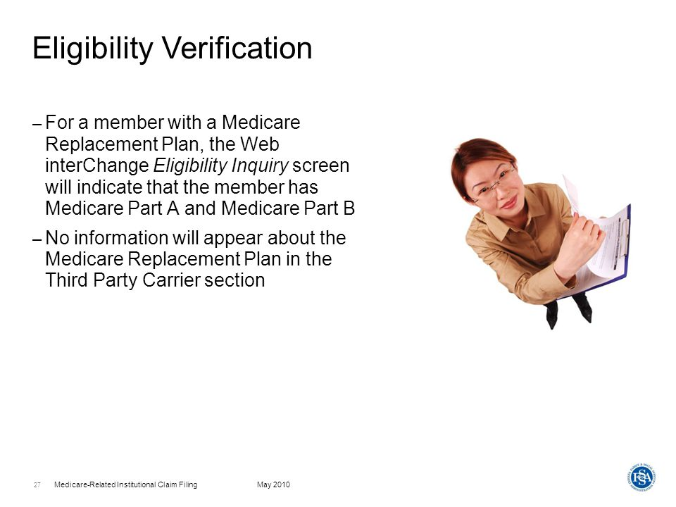 Medicare-Related Institutional Claim FilingMay 2010 28 – Replacement plans are considered TPL (Third Party Liability); not Medicare Crossovers – This is a critical distinction, as billing requirements and reimbursement are different for TPL vs.