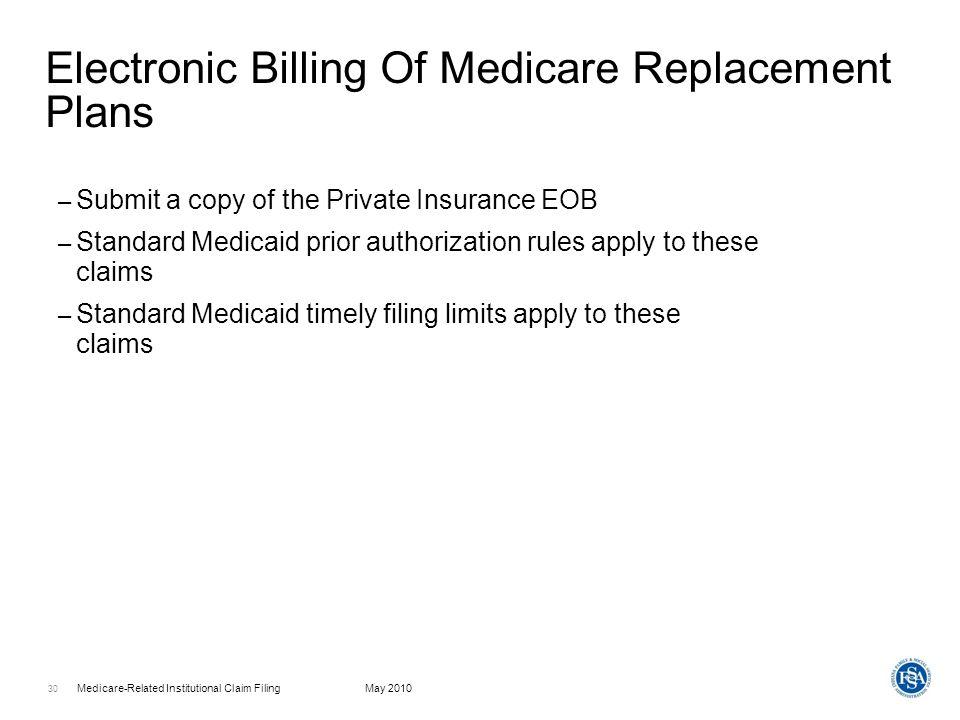 Medicare-Related Institutional Claim FilingMay 2010 31 Web interChange Claims Processing Menu
