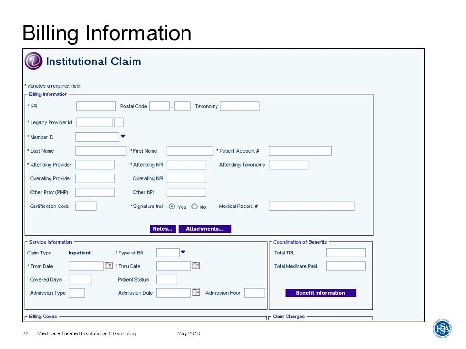 Medicare-Related Institutional Claim FilingMay 2010 33 Coordination Of Benefits