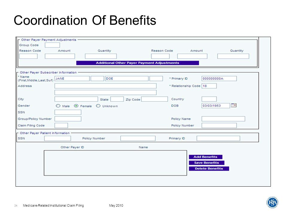 Medicare-Related Institutional Claim FilingMay 2010 35 Attachment Information