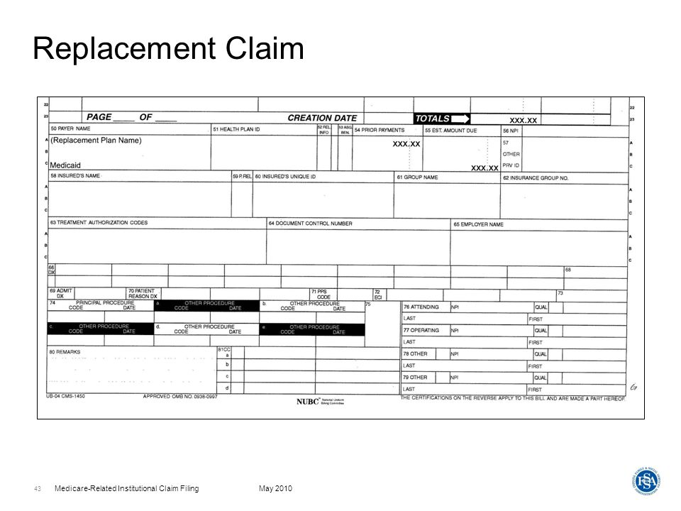 Medicare-Related Institutional Claim FilingMay 2010 44 Replacement Claim
