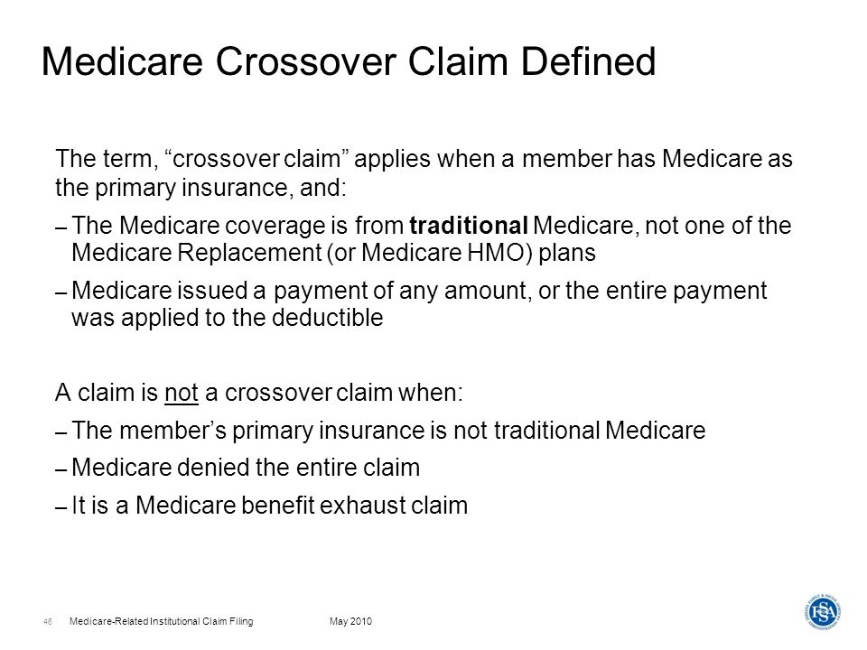 Medicare-Related Institutional Claim FilingMay 2010 47 Why Claims Do Not Automatically Cross Over Following are some of the reasons why claims fail to cross over from Medicare automatically – The Medicare intermediary is not National Government Services (NGS) or is not an intermediary that has a partnership agreement with HP – Ambulatory surgical center (ASC) claims billed to Medicare on a CMS-1500 claim form with the SG modifier – Data errors on the crossover file Examples include incorrect Social Security number (SSN) or spelling of member name