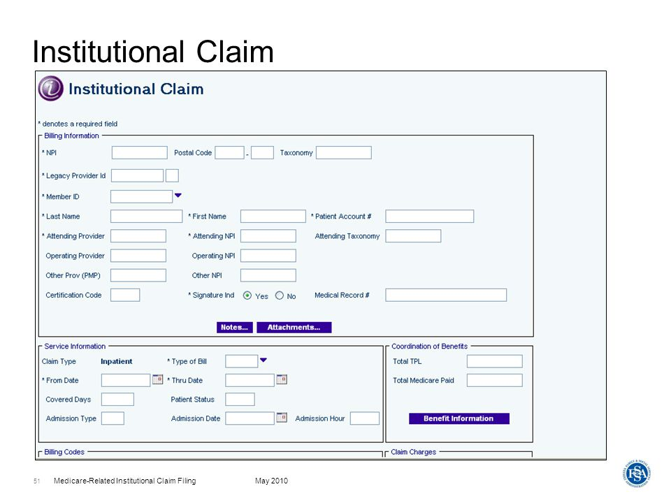 Medicare-Related Institutional Claim FilingMay 2010 52 Coordination Of Benefits