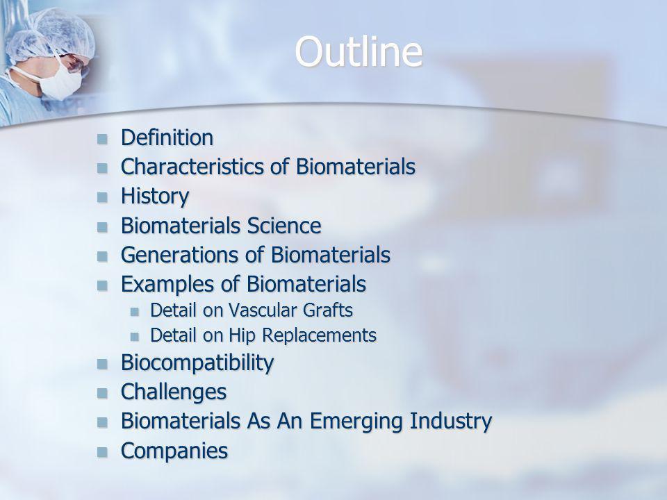 Outline Definition Definition Characteristics of Biomaterials Characteristics of Biomaterials History History Biomaterials Science Biomaterials Scienc