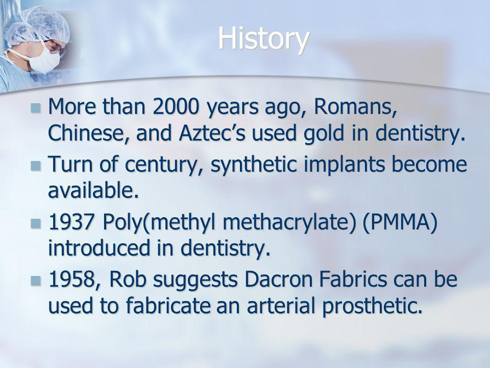 History More than 2000 years ago, Romans, Chinese, and Aztecs used gold in dentistry. More than 2000 years ago, Romans, Chinese, and Aztecs used gold