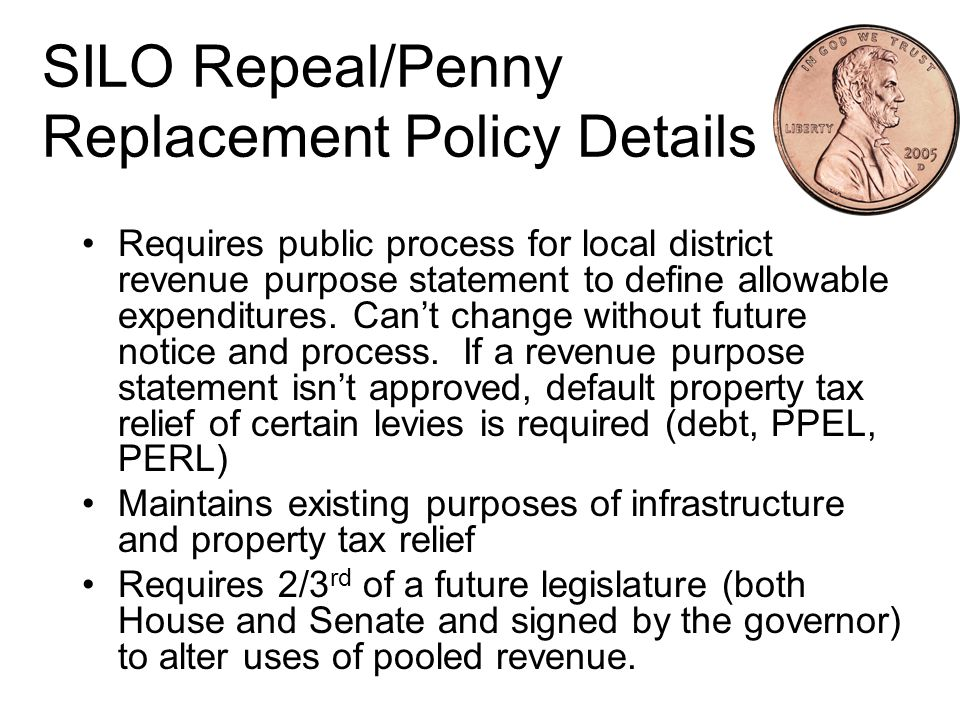 SILO Repeal/Penny Replacement Policy Closes consumer use tax loophole on out of state purchases.
