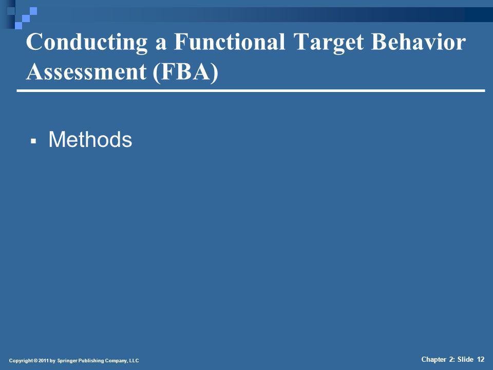 Copyright © 2011 by Springer Publishing Company, LLC Chapter 2: Slide 12 Conducting a Functional Target Behavior Assessment (FBA) Methods