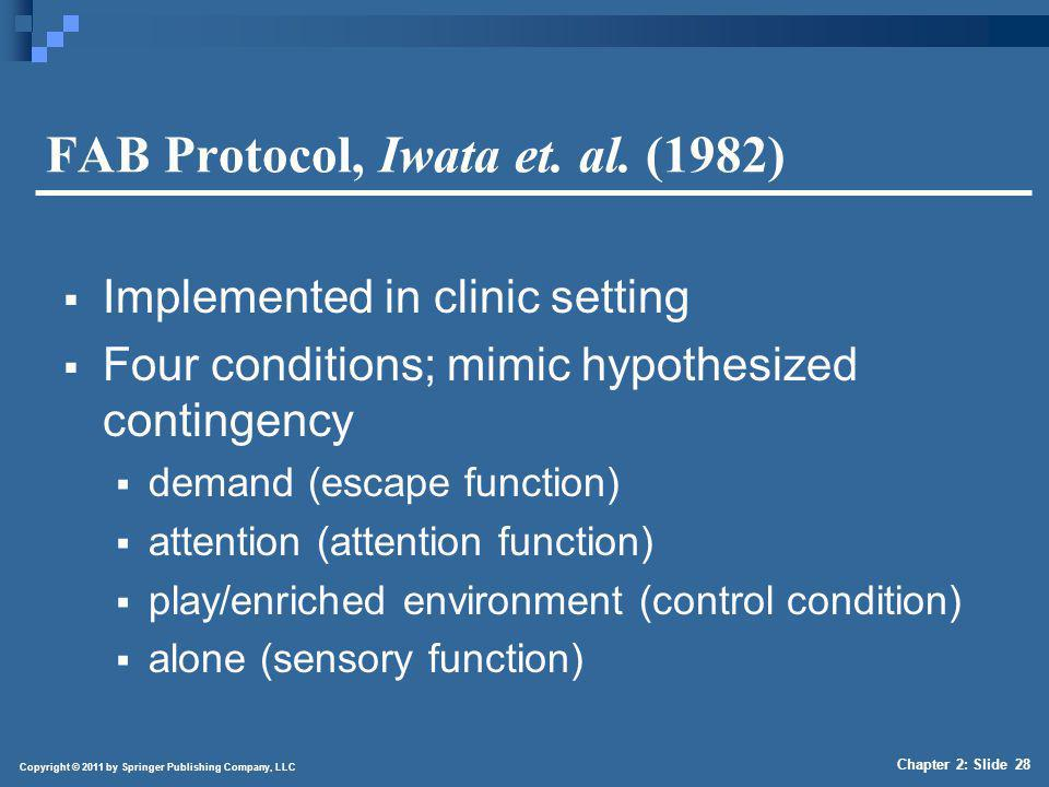 Copyright © 2011 by Springer Publishing Company, LLC Chapter 2: Slide 28 FAB Protocol, Iwata et. al. (1982) Implemented in clinic setting Four conditi