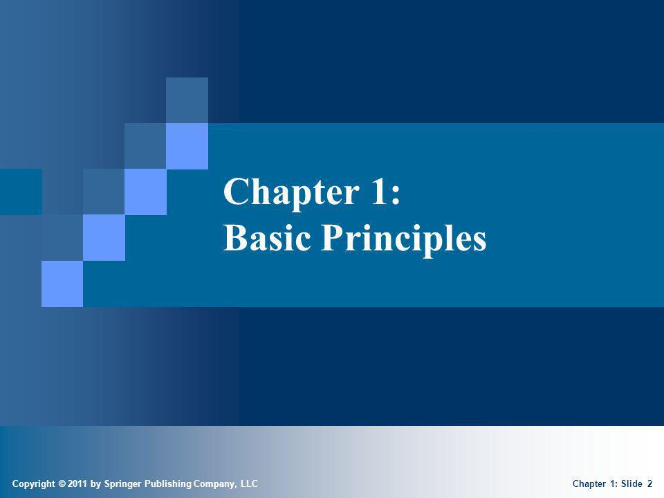 Copyright © 2011 by Springer Publishing Company, LLC Chapter 1: Basic Principles Chapter 1: Slide 2