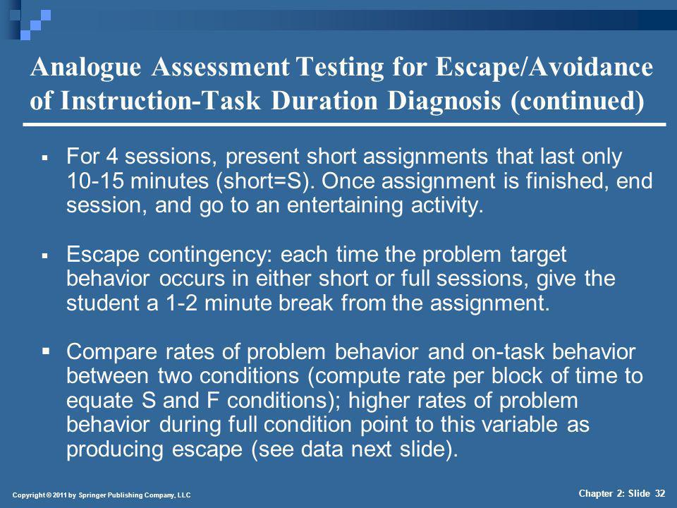 Copyright © 2011 by Springer Publishing Company, LLC Chapter 2: Slide 32 Analogue Assessment Testing for Escape/Avoidance of Instruction-Task Duration