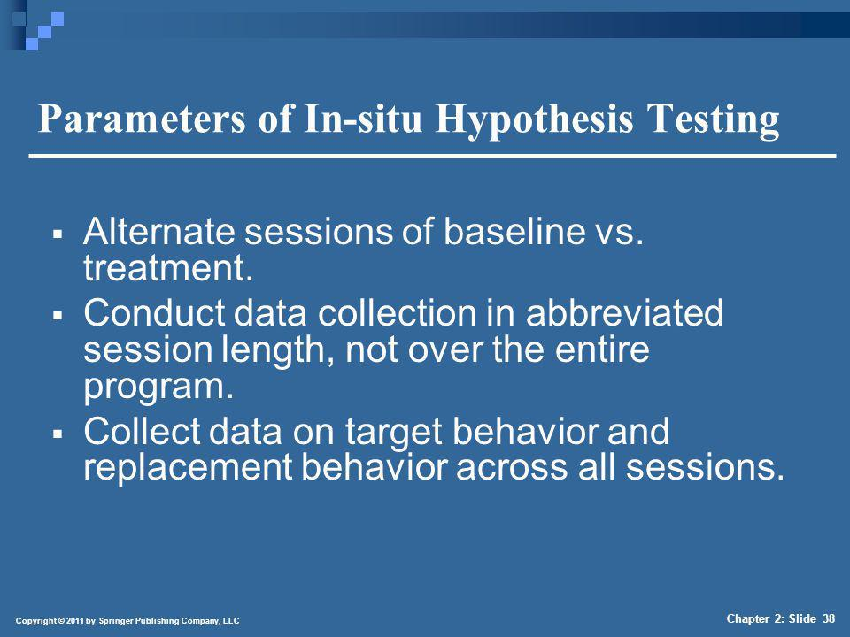 Copyright © 2011 by Springer Publishing Company, LLC Chapter 2: Slide 38 Parameters of In-situ Hypothesis Testing Alternate sessions of baseline vs. t