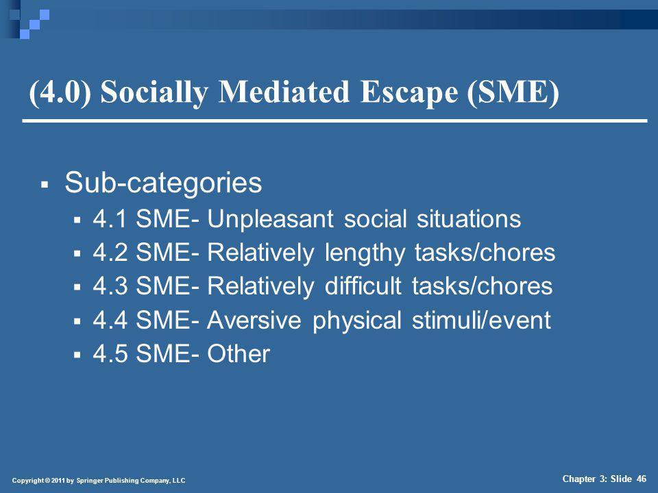 Copyright © 2011 by Springer Publishing Company, LLC Chapter 3: Slide 46 (4.0) Socially Mediated Escape (SME) Sub-categories 4.1 SME- Unpleasant socia