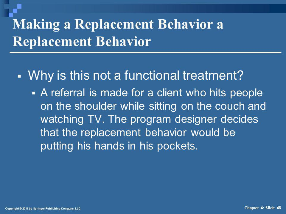 Copyright © 2011 by Springer Publishing Company, LLC Chapter 4: Slide 48 Making a Replacement Behavior a Replacement Behavior Why is this not a functi