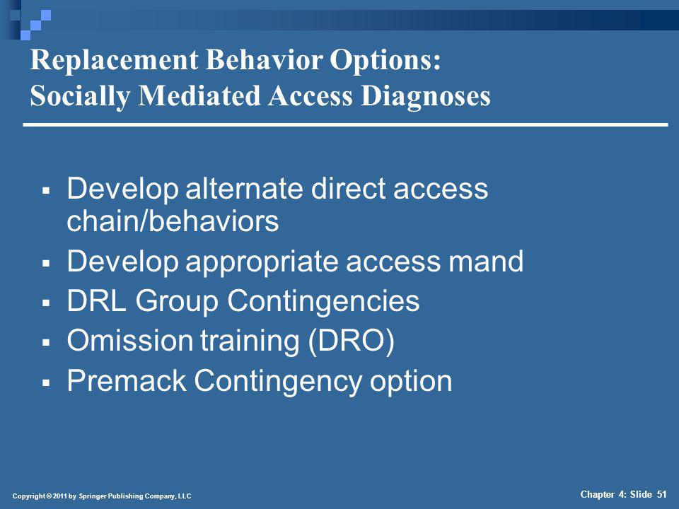 Copyright © 2011 by Springer Publishing Company, LLC Chapter 4: Slide 51 Replacement Behavior Options: Socially Mediated Access Diagnoses Develop alte