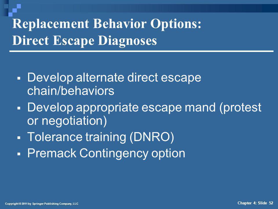 Copyright © 2011 by Springer Publishing Company, LLC Chapter 4: Slide 52 Replacement Behavior Options: Direct Escape Diagnoses Develop alternate direc