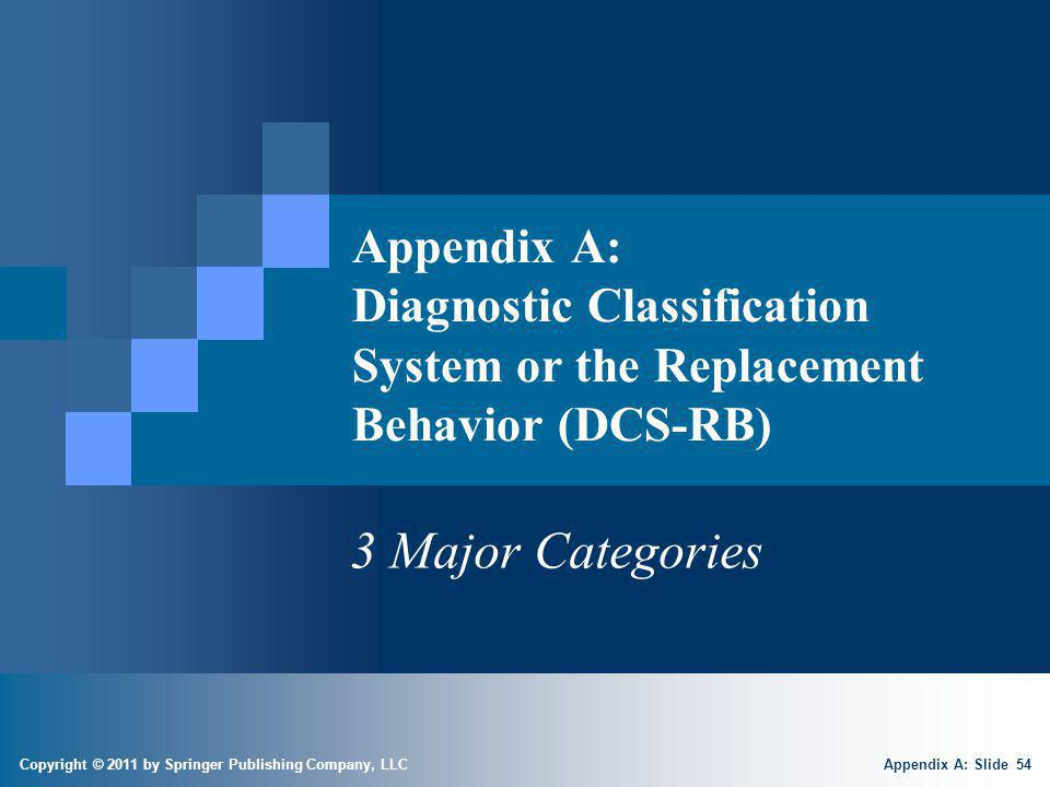 Copyright © 2011 by Springer Publishing Company, LLC Appendix A: Diagnostic Classification System or the Replacement Behavior (DCS-RB) 3 Major Categor