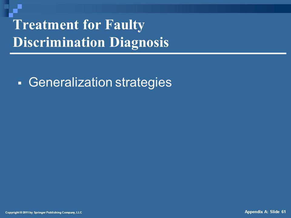 Copyright © 2011 by Springer Publishing Company, LLC Appendix A: Slide 61 Treatment for Faulty Discrimination Diagnosis Generalization strategies