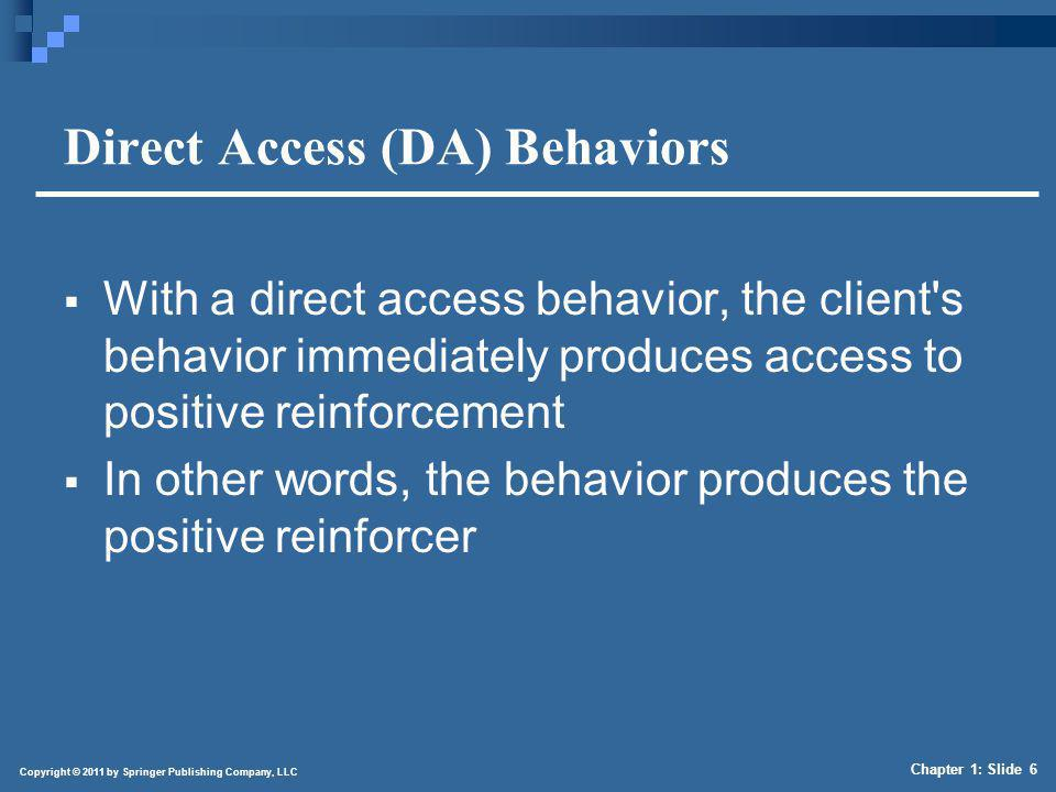 Copyright © 2011 by Springer Publishing Company, LLC Chapter 1: Slide 6 Direct Access (DA) Behaviors With a direct access behavior, the client's behav