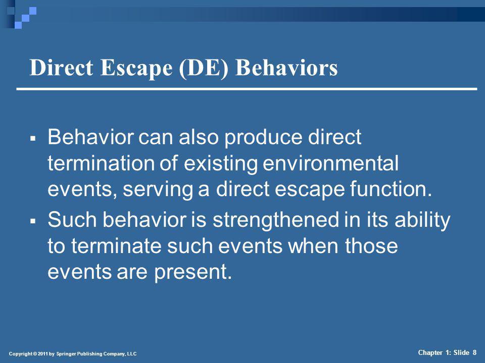 Copyright © 2011 by Springer Publishing Company, LLC Chapter 1: Slide 8 Direct Escape (DE) Behaviors Behavior can also produce direct termination of e