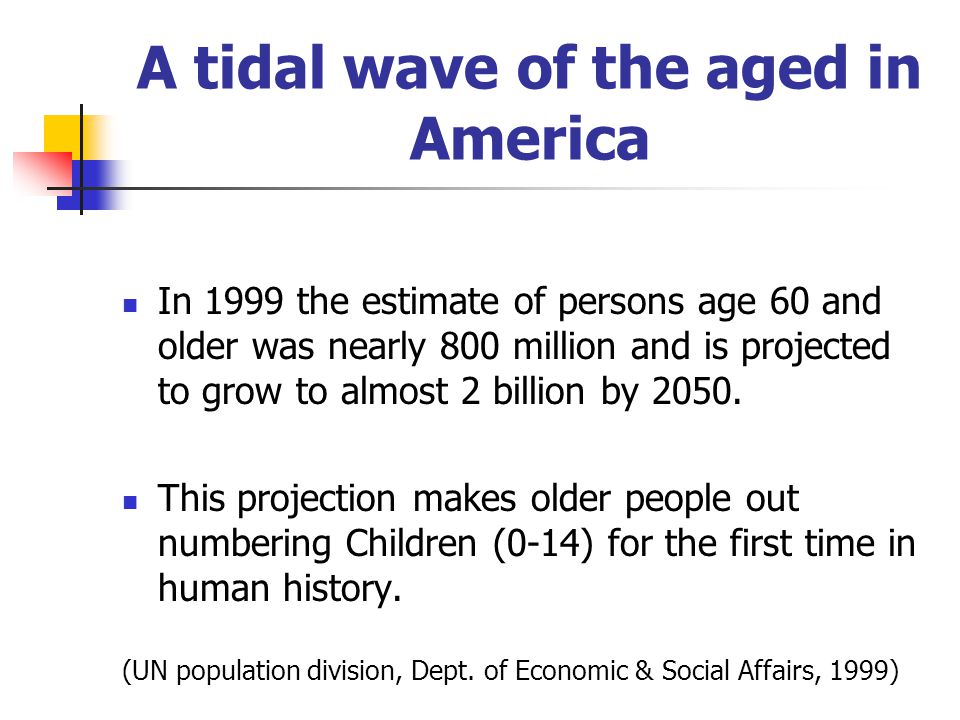 A tidal wave of the aged in America In 1999 the estimate of persons age 60 and older was nearly 800 million and is projected to grow to almost 2 billi