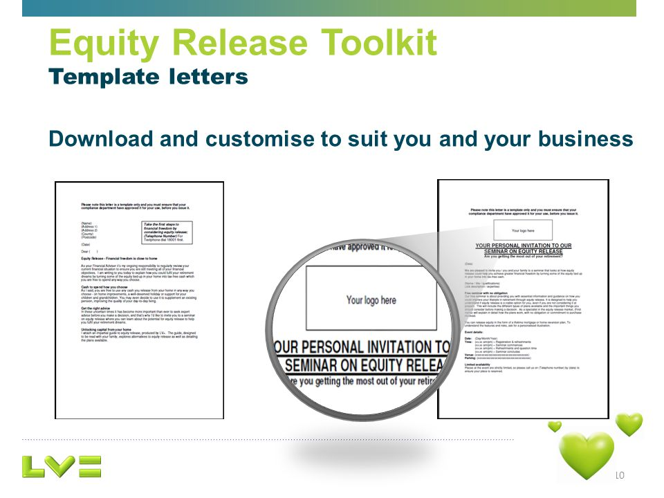 10 Equity Release Toolkit Template letters Download and customise to suit you and your business
