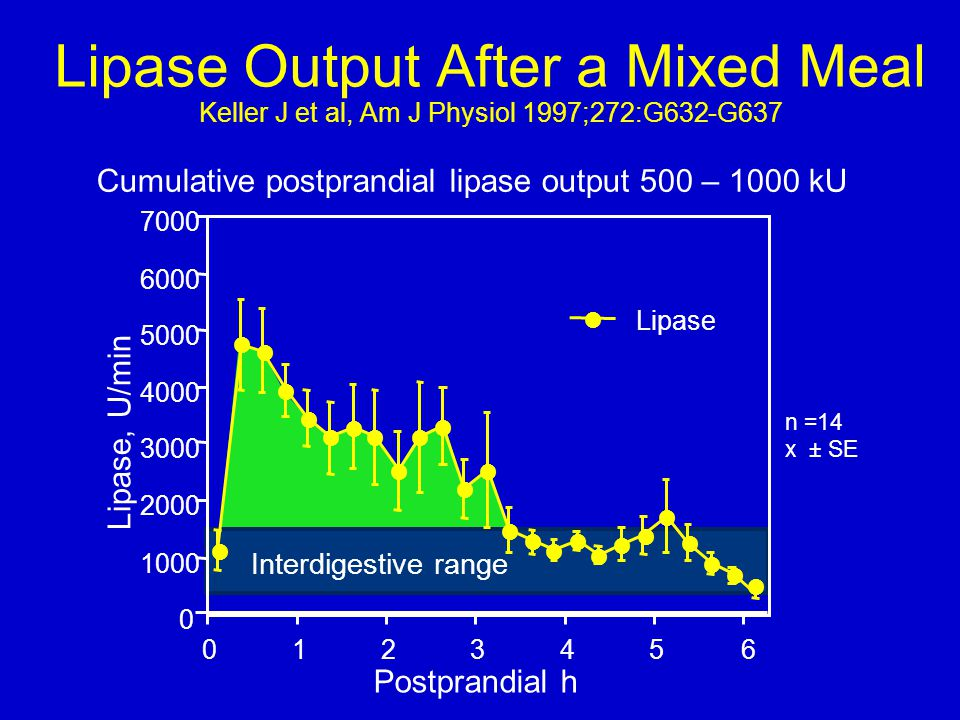 Lipase Output After a Mixed Meal Keller J et al, Am J Physiol 1997;272:G632-G637 Interdigestive range Cumulative postprandial lipase output 500 – 1000
