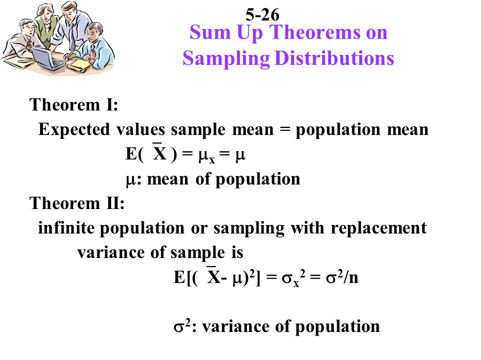 5-26 Sum Up Theorems on Sampling Distributions Theorem I: Expected values sample mean = population mean E( X ) = x = : mean of population Theorem II: infinite population or sampling with replacement variance of sample is E[( X- ) 2 ] = x 2 = 2 /n 2 : variance of population