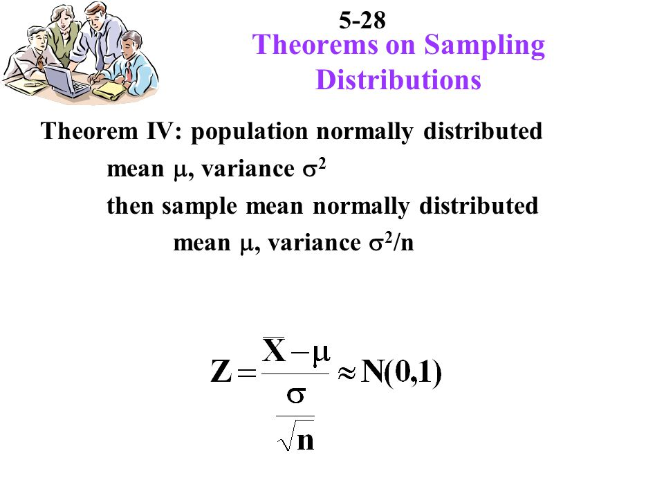5-28 Theorems on Sampling Distributions Theorem IV: population normally distributed mean, variance 2 then sample mean normally distributed mean, variance 2 /n
