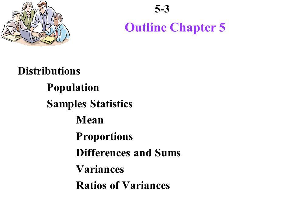 5-54 Sampling Distribution of Variances All possible random samples of size n each sample has a variance all possible variances give sampling distribution of variances sampling distribution of related random variable