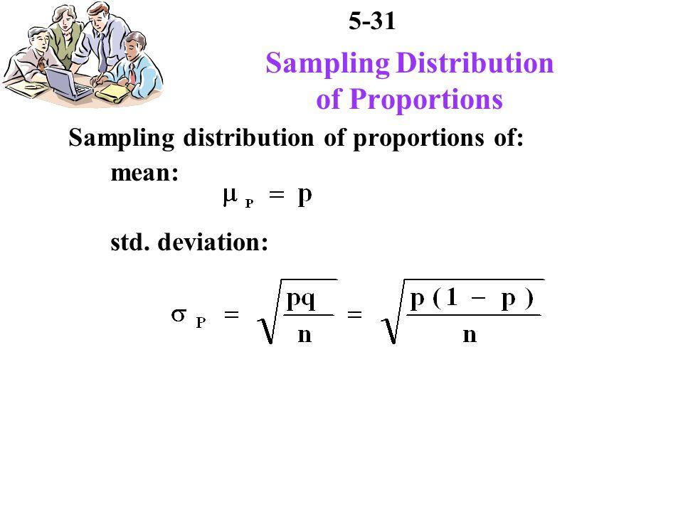 5-31 Sampling Distribution of Proportions Sampling distribution of proportions of: mean: std.