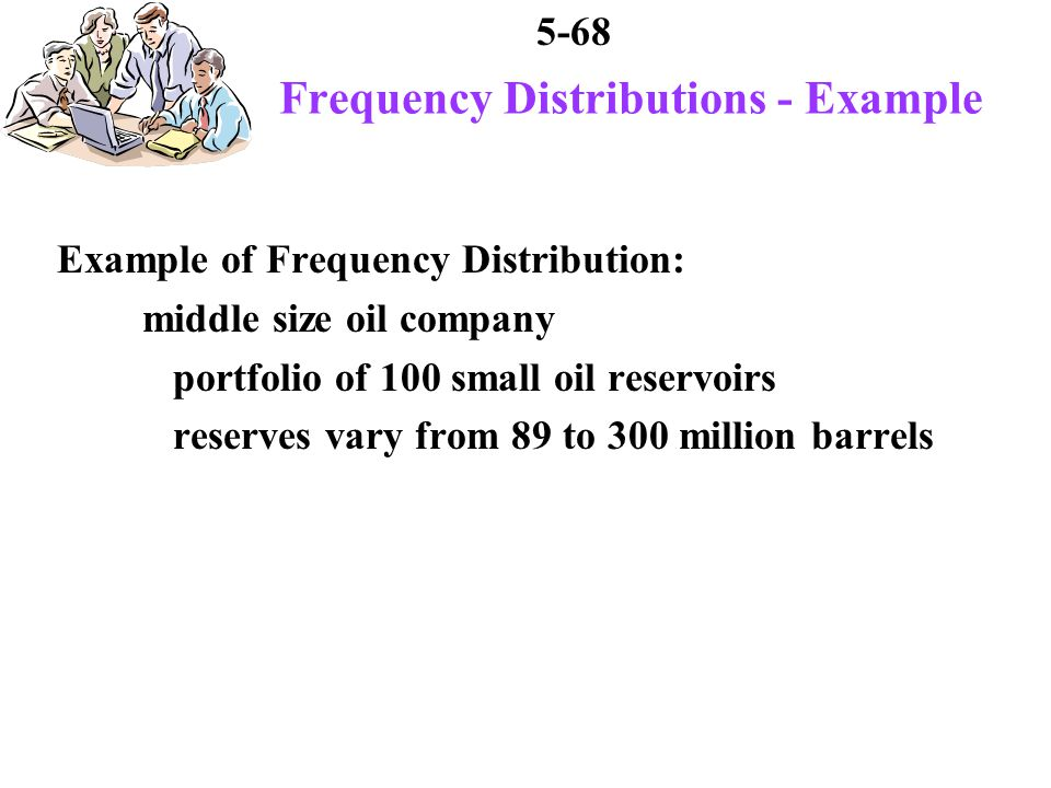 5-68 Frequency Distributions - Example Example of Frequency Distribution: middle size oil company portfolio of 100 small oil reservoirs reserves vary from 89 to 300 million barrels