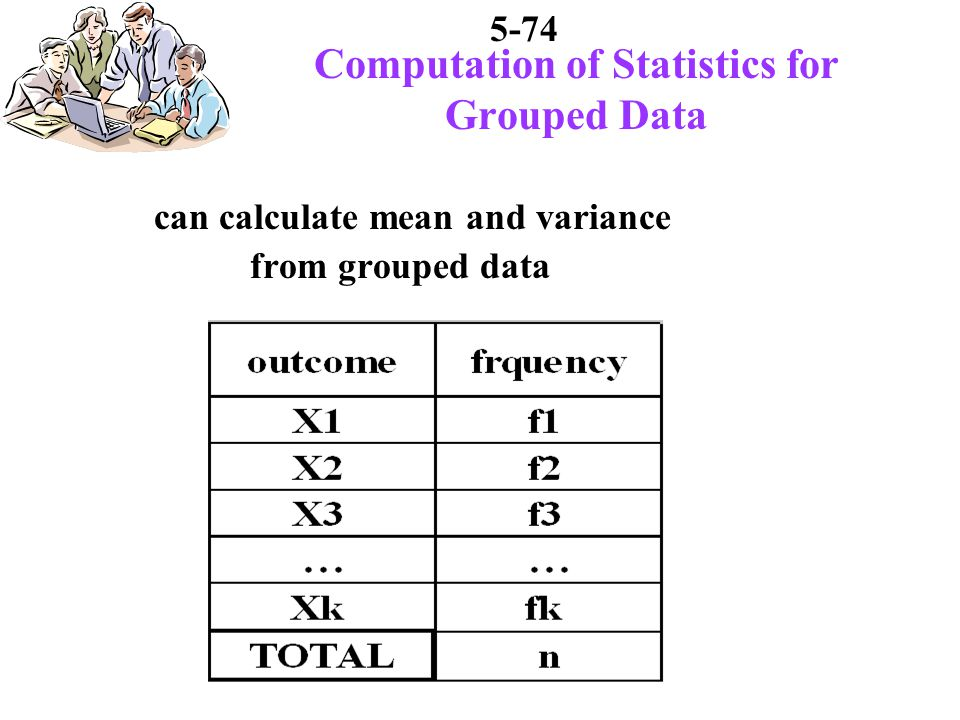 5-74 Computation of Statistics for Grouped Data can calculate mean and variance from grouped data