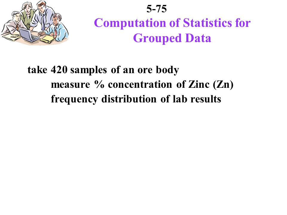 5-75 Computation of Statistics for Grouped Data take 420 samples of an ore body measure % concentration of Zinc (Zn) frequency distribution of lab results