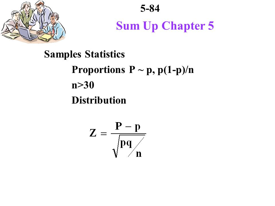 5-84 Sum Up Chapter 5 Samples Statistics Proportions P ~ p, p(1-p)/n n>30 Distribution