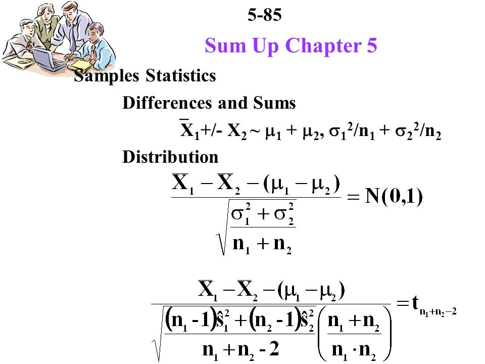 5-85 Sum Up Chapter 5 Samples Statistics Differences and Sums X 1 +/- X 2 ~ 1 + 2, 1 2 /n 1 + 2 2 /n 2 Distribution