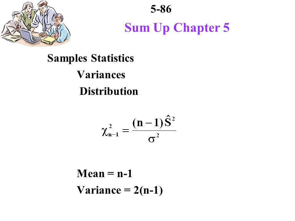 5-86 Sum Up Chapter 5 Samples Statistics Variances Distribution Mean = n-1 Variance = 2(n-1)